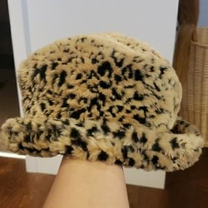 vintage faux fur animal print winter hat